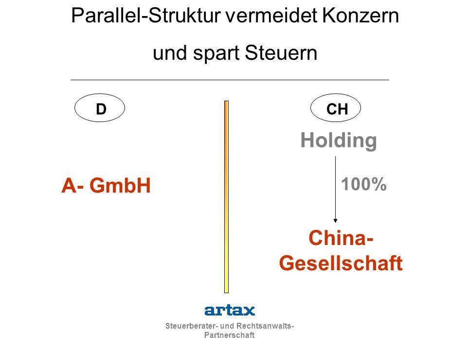 Steuerberater- und Rechtsanwalts- Partnerschaft A- GmbH China- Gesellschaft Holding 100% DCH Parallel-Struktur vermeidet Konzern und spart Steuern