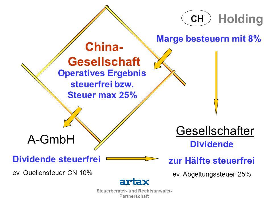 Steuerberater- und Rechtsanwalts- Partnerschaft China- Gesellschaft Holding CH Marge besteuern mit 8% Operatives Ergebnis steuerfrei bzw. Steuer max 2