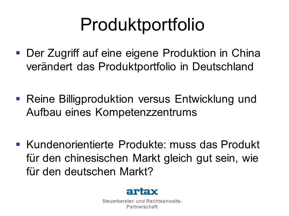 Steuerberater- und Rechtsanwalts- Partnerschaft Produktportfolio  Der Zugriff auf eine eigene Produktion in China verändert das Produktportfolio in D