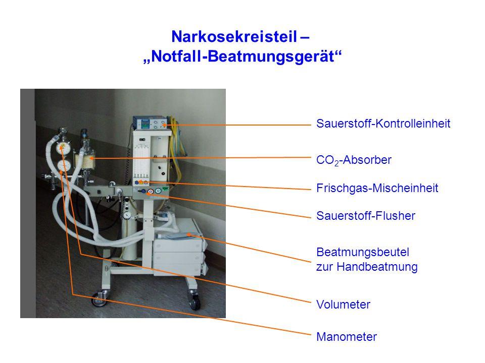 """Narkosekreisteil – """"Notfall-Beatmungsgerät CO 2 -Absorber Beatmungsbeutel zur Handbeatmung Frischgas-Mischeinheit Sauerstoff-Kontrolleinheit Sauerstoff-Flusher Volumeter Manometer"""