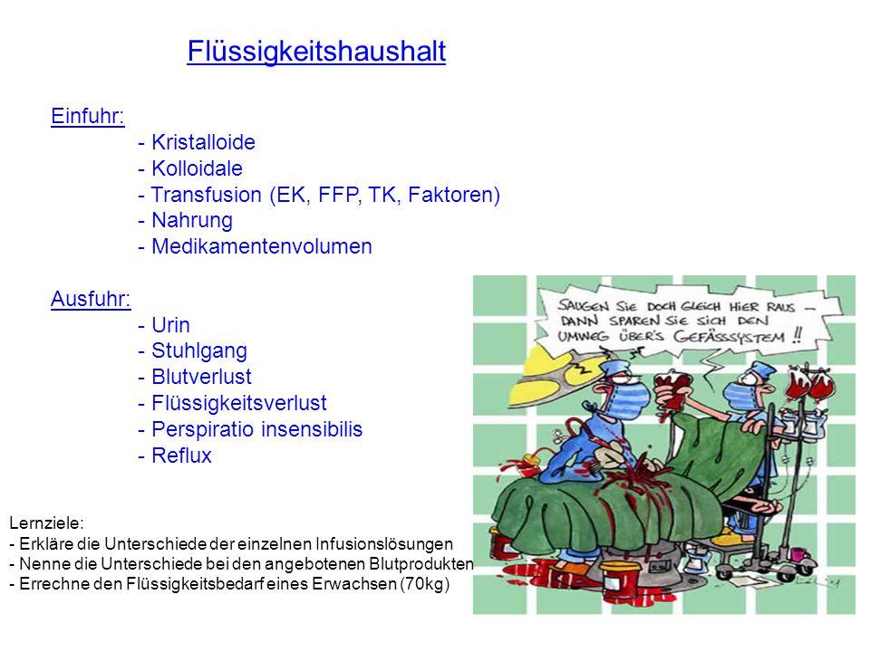 Flüssigkeitshaushalt Einfuhr: - Kristalloide - Kolloidale - Transfusion (EK, FFP, TK, Faktoren) - Nahrung - Medikamentenvolumen Ausfuhr: - Urin - Stuh