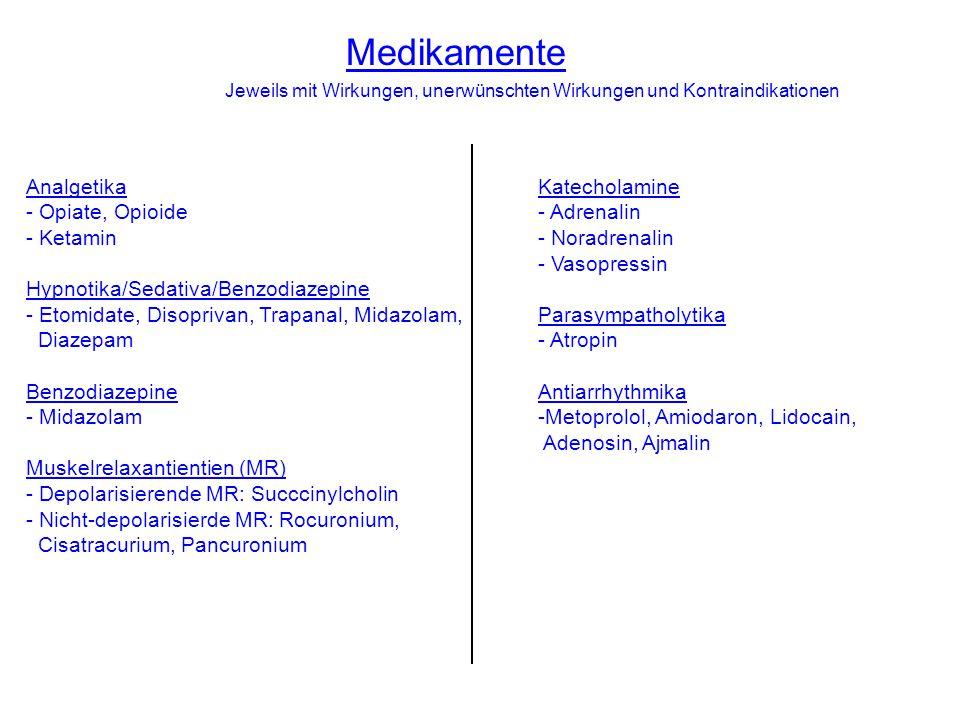 Medikamente Jeweils mit Wirkungen, unerwünschten Wirkungen und Kontraindikationen Katecholamine - Adrenalin - Noradrenalin - Vasopressin Parasympatholytika - Atropin Antiarrhythmika -Metoprolol, Amiodaron, Lidocain, Adenosin, Ajmalin Analgetika - Opiate, Opioide - Ketamin Hypnotika/Sedativa/Benzodiazepine - Etomidate, Disoprivan, Trapanal, Midazolam, Diazepam Benzodiazepine - Midazolam Muskelrelaxantientien (MR) - Depolarisierende MR: Succcinylcholin - Nicht-depolarisierde MR: Rocuronium, Cisatracurium, Pancuronium