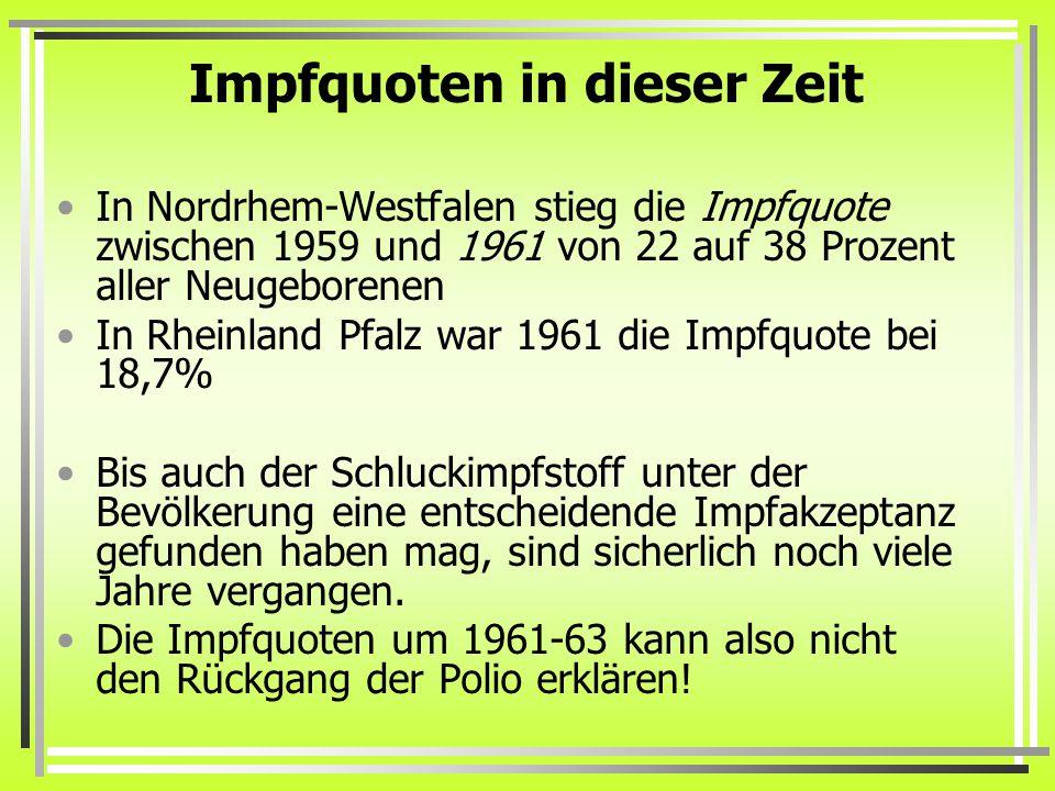 Impfquoten in dieser Zeit In Nordrhem-Westfalen stieg die Impfquote zwischen 1959 und 1961 von 22 auf 38 Prozent aller Neugeborenen In Rheinland Pfalz war 1961 die Impfquote bei 18,7% Bis auch der Schluckimpfstoff unter der Bevölkerung eine entscheidende Impfakzeptanz gefunden haben mag, sind sicherlich noch viele Jahre vergangen.