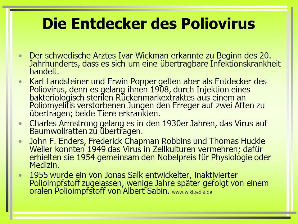 Die Entdecker des Poliovirus Der schwedische Arztes Ivar Wickman erkannte zu Beginn des 20.