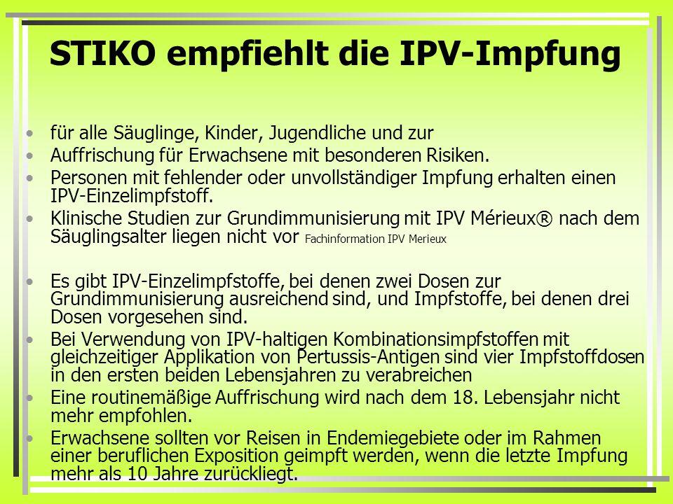 STIKO empfiehlt die IPV-Impfung für alle Säuglinge, Kinder, Jugendliche und zur Auffrischung für Erwachsene mit besonderen Risiken.