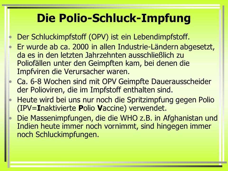 Die Polio-Schluck-Impfung Der Schluckimpfstoff (OPV) ist ein Lebendimpfstoff.