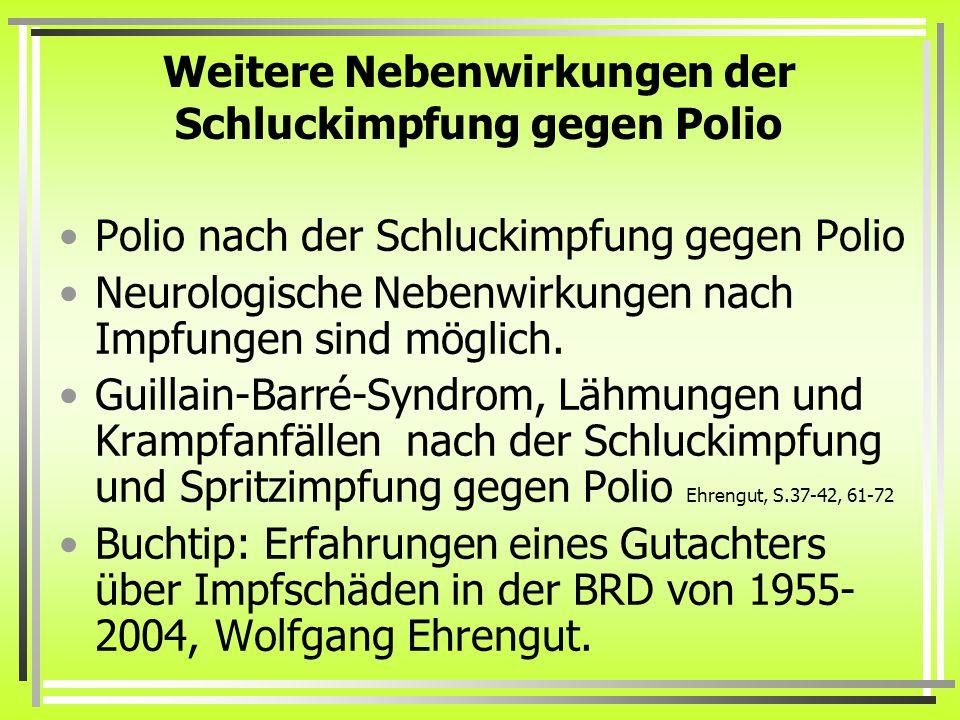 Weitere Nebenwirkungen der Schluckimpfung gegen Polio Polio nach der Schluckimpfung gegen Polio Neurologische Nebenwirkungen nach Impfungen sind möglich.