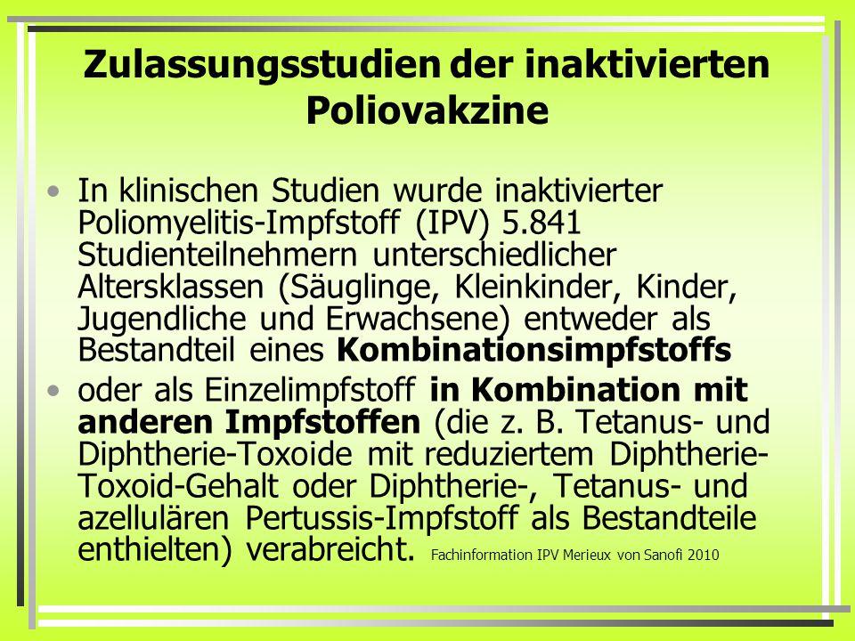 Zulassungsstudien der inaktivierten Poliovakzine In klinischen Studien wurde inaktivierter Poliomyelitis-Impfstoff (IPV) 5.841 Studienteilnehmern unterschiedlicher Altersklassen (Säuglinge, Kleinkinder, Kinder, Jugendliche und Erwachsene) entweder als Bestandteil eines Kombinationsimpfstoffs oder als Einzelimpfstoff in Kombination mit anderen Impfstoffen (die z.