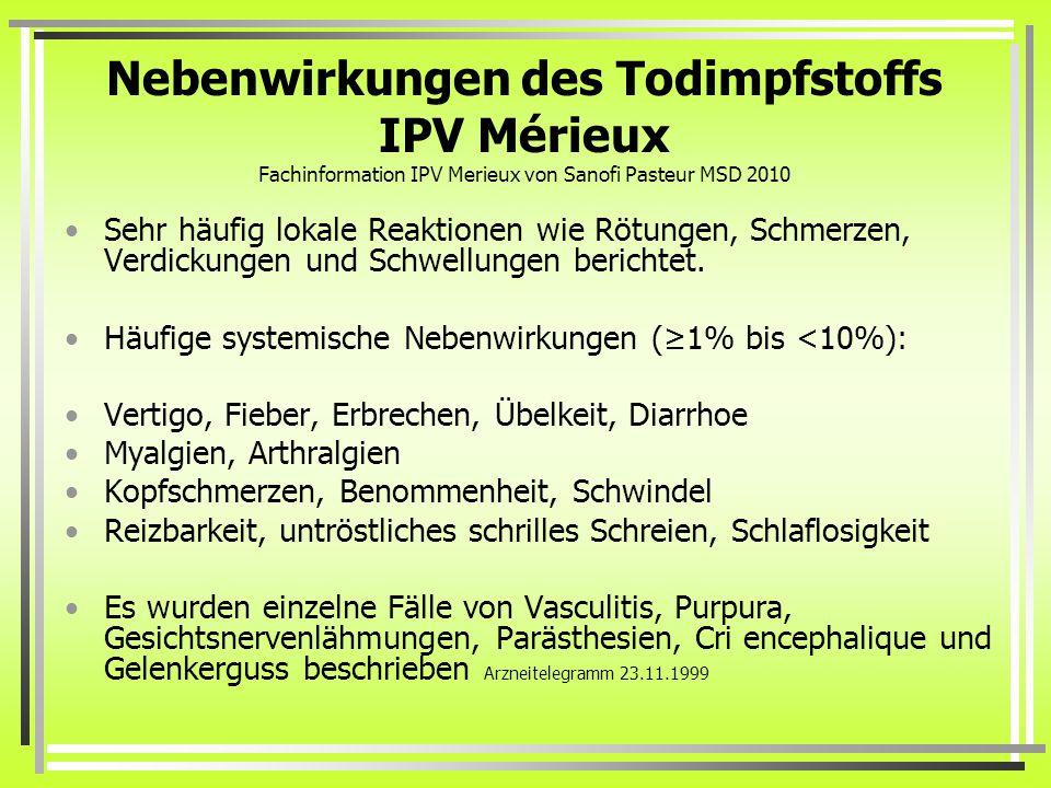 Nebenwirkungen des Todimpfstoffs IPV Mérieux Fachinformation IPV Merieux von Sanofi Pasteur MSD 2010 Sehr häufig lokale Reaktionen wie Rötungen, Schmerzen, Verdickungen und Schwellungen berichtet.