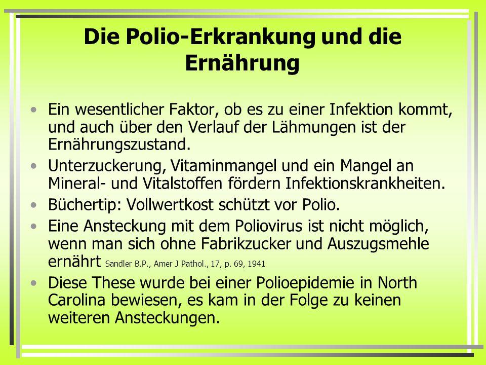 Die Polio-Erkrankung und die Ernährung Ein wesentlicher Faktor, ob es zu einer Infektion kommt, und auch über den Verlauf der Lähmungen ist der Ernährungszustand.