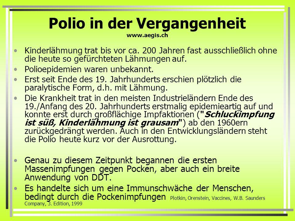 Polio in der Vergangenheit www.aegis.ch Kinderlähmung trat bis vor ca.