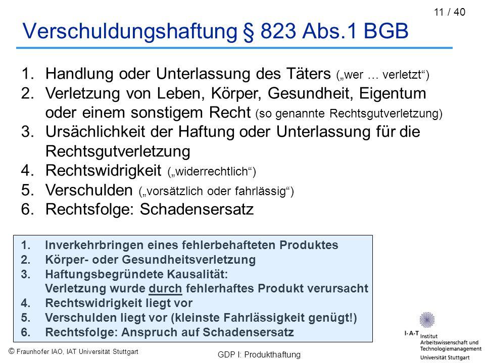 © Fraunhofer IAO, IAT Universität Stuttgart GDP I: Produkthaftung 11 / 40 Verschuldungshaftung § 823 Abs.1 BGB 1.Handlung oder Unterlassung des Täters