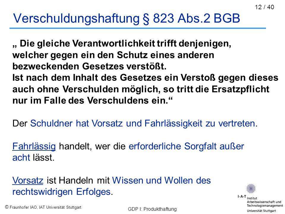 """© Fraunhofer IAO, IAT Universität Stuttgart GDP I: Produkthaftung 12 / 40 Verschuldungshaftung § 823 Abs.2 BGB """" Die gleiche Verantwortlichkeit trifft"""