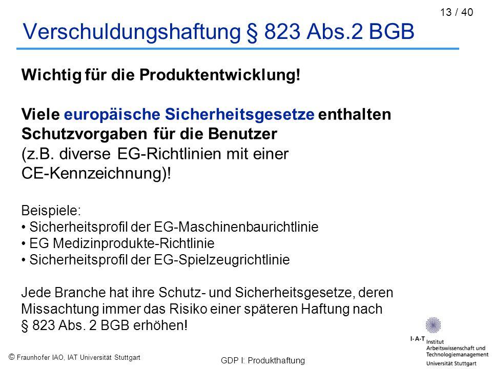 © Fraunhofer IAO, IAT Universität Stuttgart GDP I: Produkthaftung 13 / 40 Verschuldungshaftung § 823 Abs.2 BGB Wichtig für die Produktentwicklung! Vie