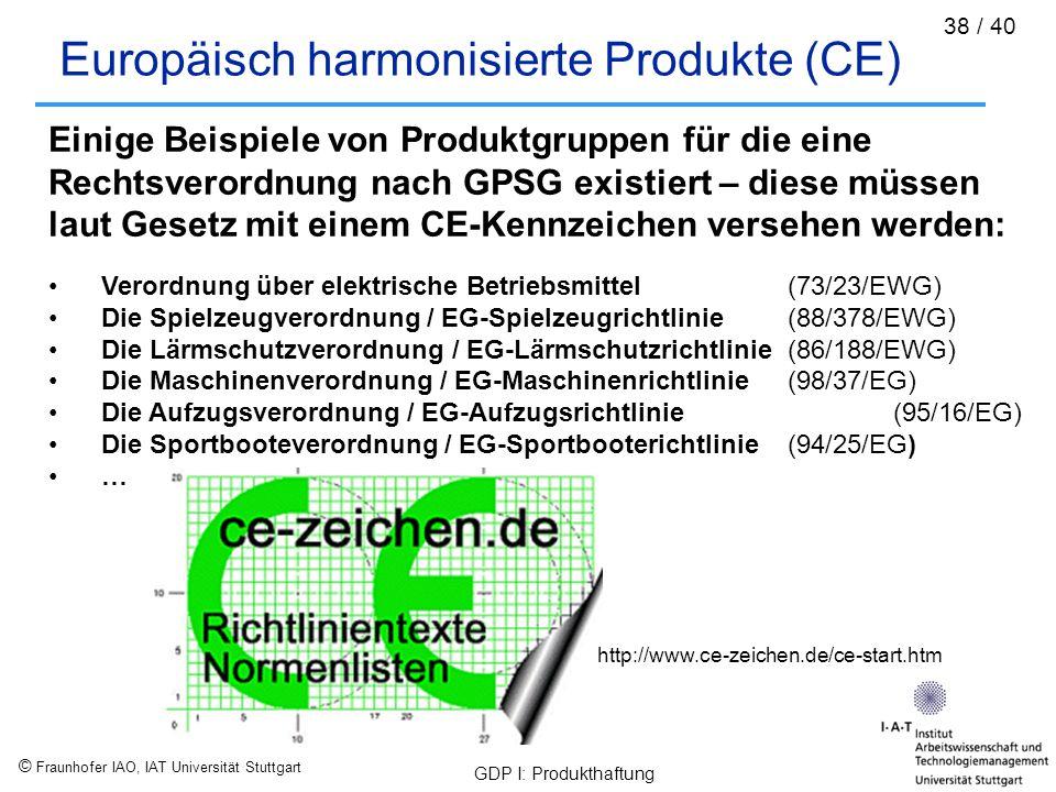© Fraunhofer IAO, IAT Universität Stuttgart GDP I: Produkthaftung 38 / 40 Europäisch harmonisierte Produkte (CE) Einige Beispiele von Produktgruppen f