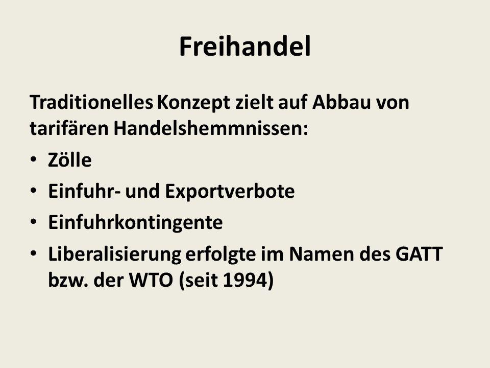 Freihandel Traditionelles Konzept zielt auf Abbau von tarifären Handelshemmnissen: Zölle Einfuhr- und Exportverbote Einfuhrkontingente Liberalisierung erfolgte im Namen des GATT bzw.
