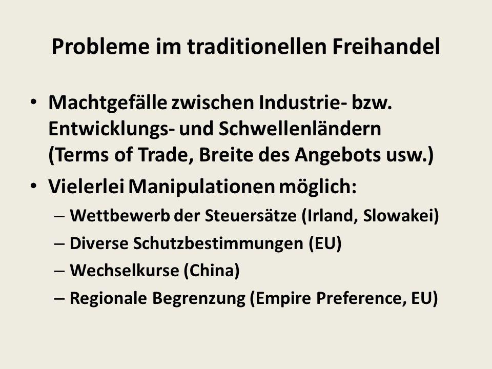 Probleme im traditionellen Freihandel Machtgefälle zwischen Industrie- bzw.