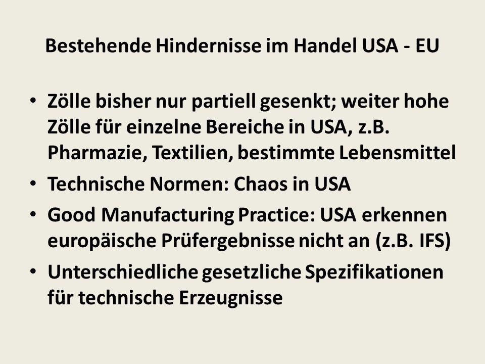 Bestehende Hindernisse im Handel USA - EU Zölle bisher nur partiell gesenkt; weiter hohe Zölle für einzelne Bereiche in USA, z.B.