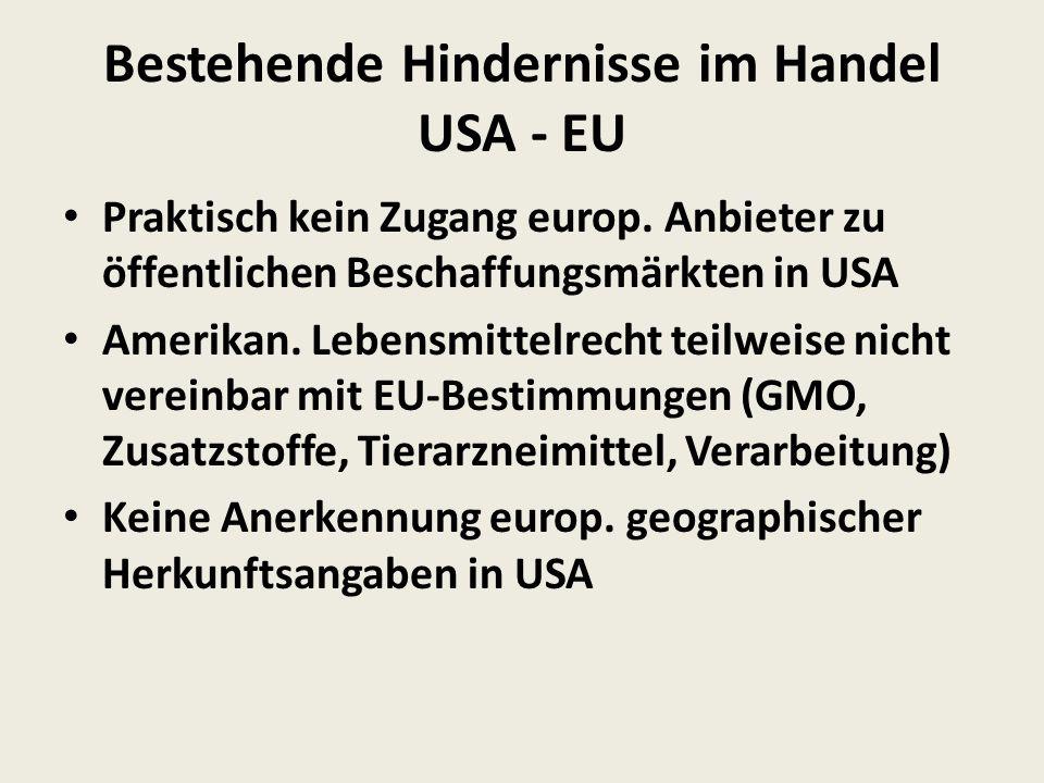 Bestehende Hindernisse im Handel USA - EU Praktisch kein Zugang europ.