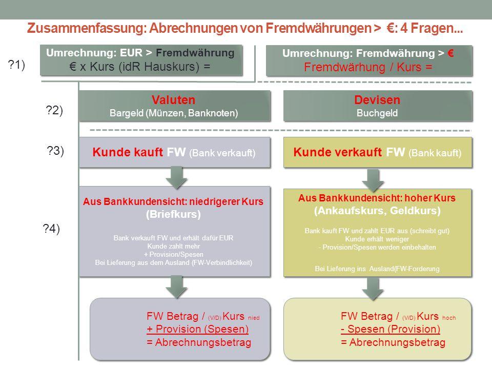 Zusammenfassung: Abrechnungen von Fremdwährungen > €: 4 Fragen...