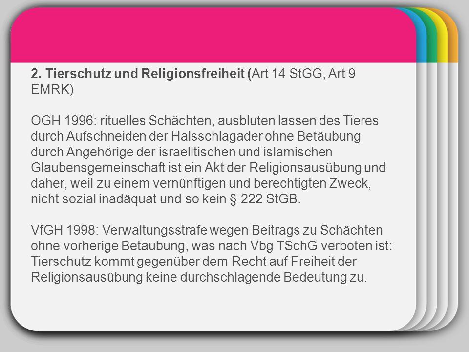 WINTER Template 2. Tierschutz und Religionsfreiheit (Art 14 StGG, Art 9 EMRK) OGH 1996: rituelles Schächten, ausbluten lassen des Tieres durch Aufschn
