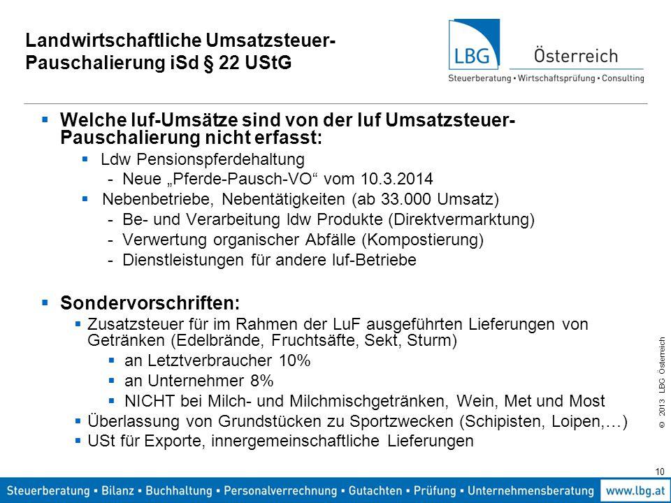 © 2013 LBG Österreich 10 Landwirtschaftliche Umsatzsteuer- Pauschalierung iSd § 22 UStG  Welche luf-Umsätze sind von der luf Umsatzsteuer- Pauschalie