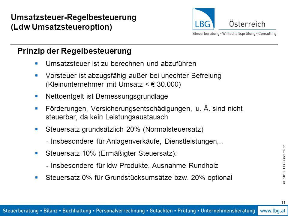 © 2013 LBG Österreich 11 Umsatzsteuer-Regelbesteuerung (Ldw Umsatzsteueroption) Prinzip der Regelbesteuerung  Umsatzsteuer ist zu berechnen und abzuf
