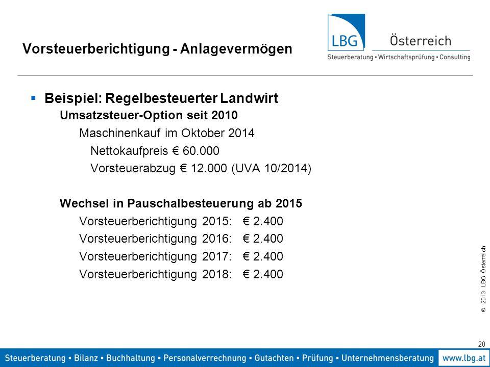 © 2013 LBG Österreich 20 Vorsteuerberichtigung - Anlagevermögen  Beispiel: Regelbesteuerter Landwirt Umsatzsteuer-Option seit 2010 Maschinenkauf im O