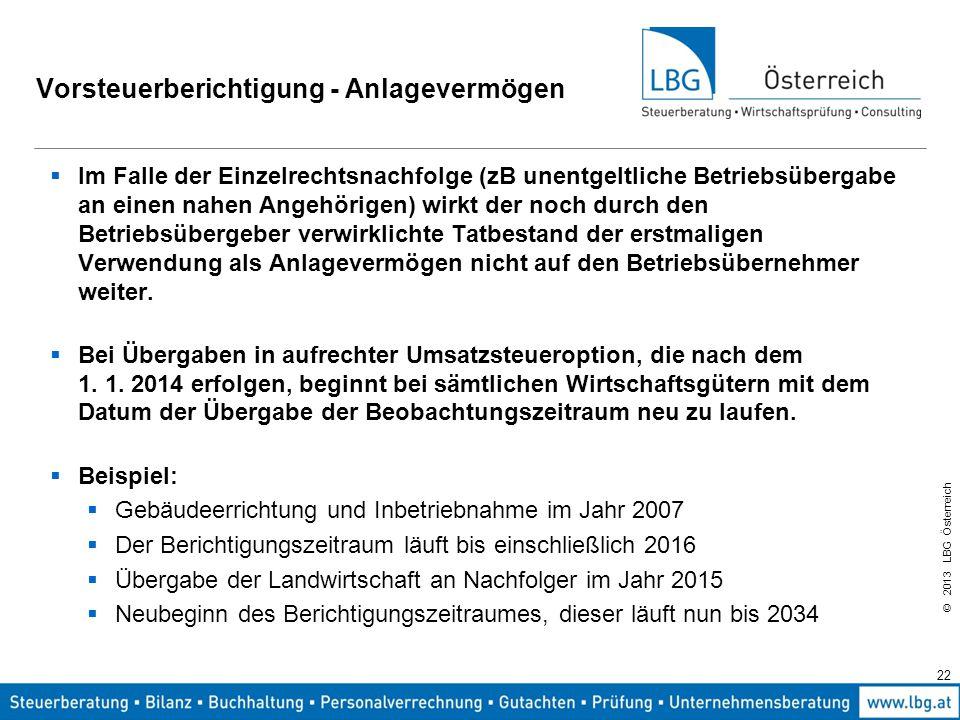 © 2013 LBG Österreich 22 Vorsteuerberichtigung - Anlagevermögen  Im Falle der Einzelrechtsnachfolge (zB unentgeltliche Betriebsübergabe an einen nahe