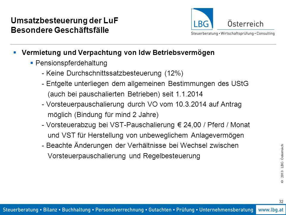 © 2013 LBG Österreich 32 Umsatzbesteuerung der LuF Besondere Geschäftsfälle  Vermietung und Verpachtung von ldw Betriebsvermögen  Pensionspferdehalt