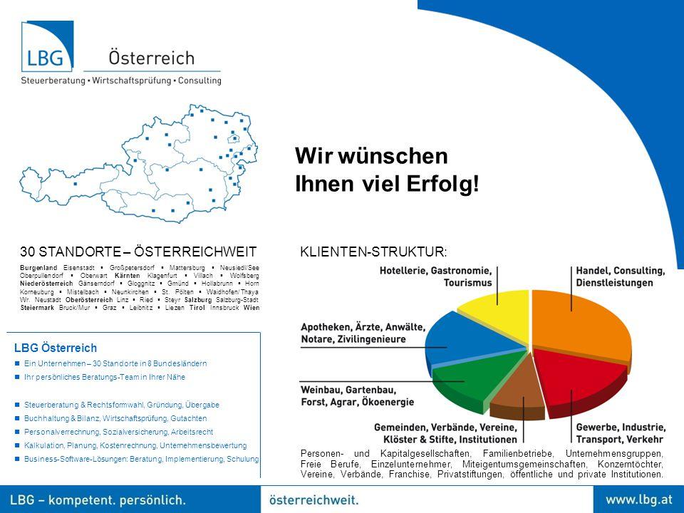 Wir wünschen Ihnen viel Erfolg! 30 STANDORTE – ÖSTERREICHWEIT Burgenland Eisenstadt  Großpetersdorf  Mattersburg  Neusiedl/See Oberpullendorf  Obe