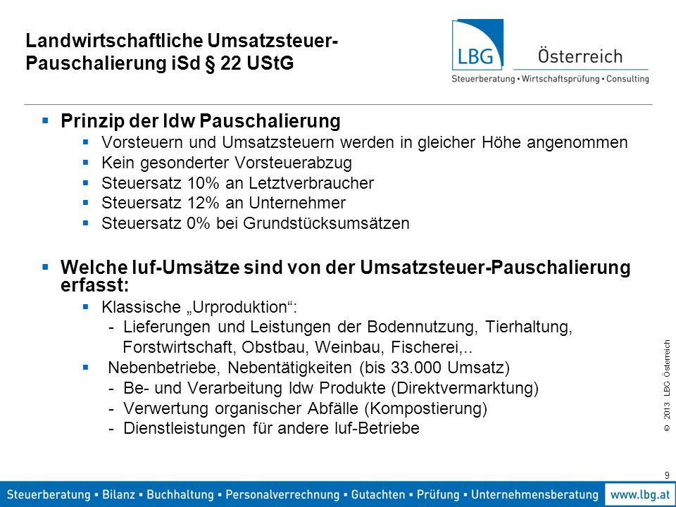 © 2013 LBG Österreich 9 Landwirtschaftliche Umsatzsteuer- Pauschalierung iSd § 22 UStG  Prinzip der ldw Pauschalierung  Vorsteuern und Umsatzsteuern