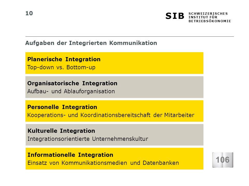 10 S I BS I B S C H W E I Z E R I S C H E S I N S T I T U T F Ü R B E T R I E B S Ö K O N O M I E Aufgaben der Integrierten Kommunikation 106 Planerische Integration Top-down vs.