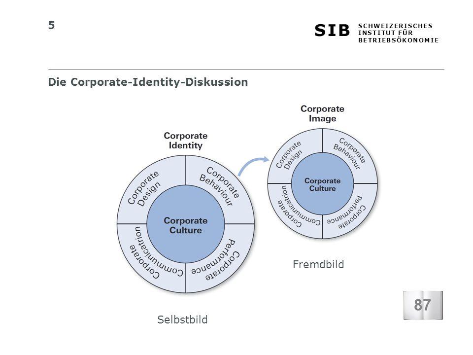 5 S I BS I B S C H W E I Z E R I S C H E S I N S T I T U T F Ü R B E T R I E B S Ö K O N O M I E Die Corporate-Identity-Diskussion Selbstbild Fremdbild 87