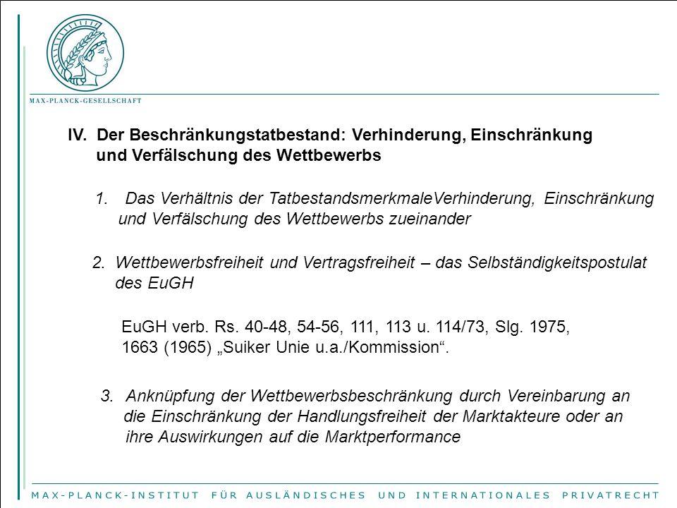 IV.Der Beschränkungstatbestand: Verhinderung, Einschränkung und Verfälschung des Wettbewerbs 1.