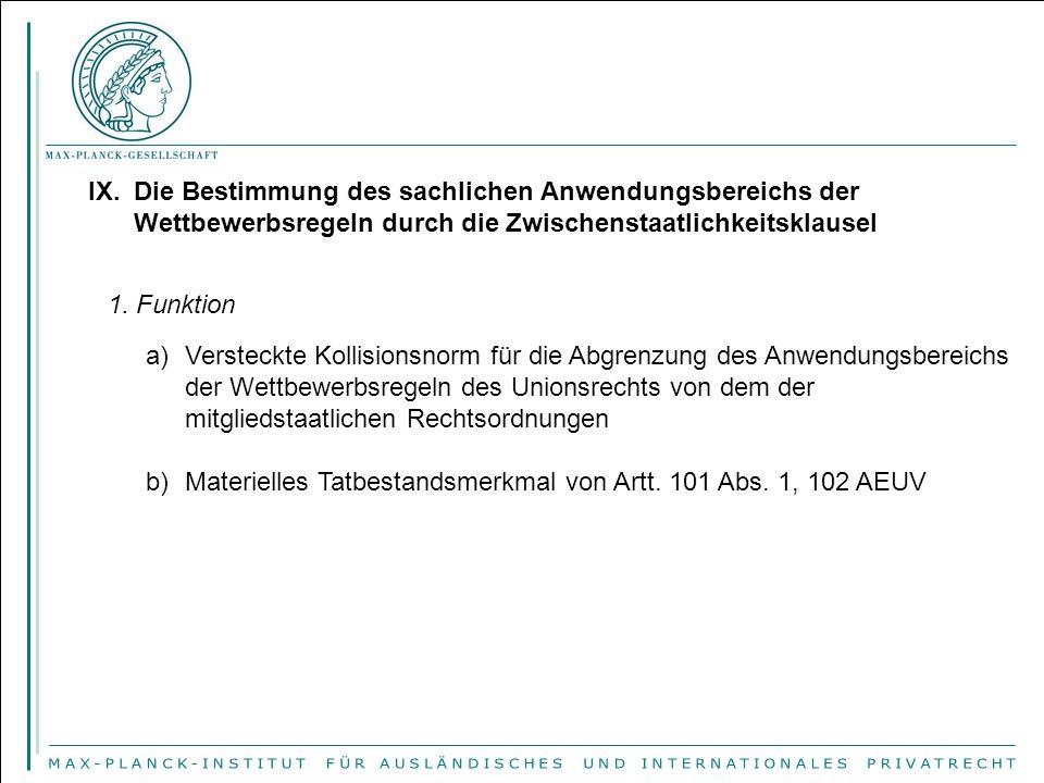 IX.Die Bestimmung des sachlichen Anwendungsbereichs der Wettbewerbsregeln durch die Zwischenstaatlichkeitsklausel 1.