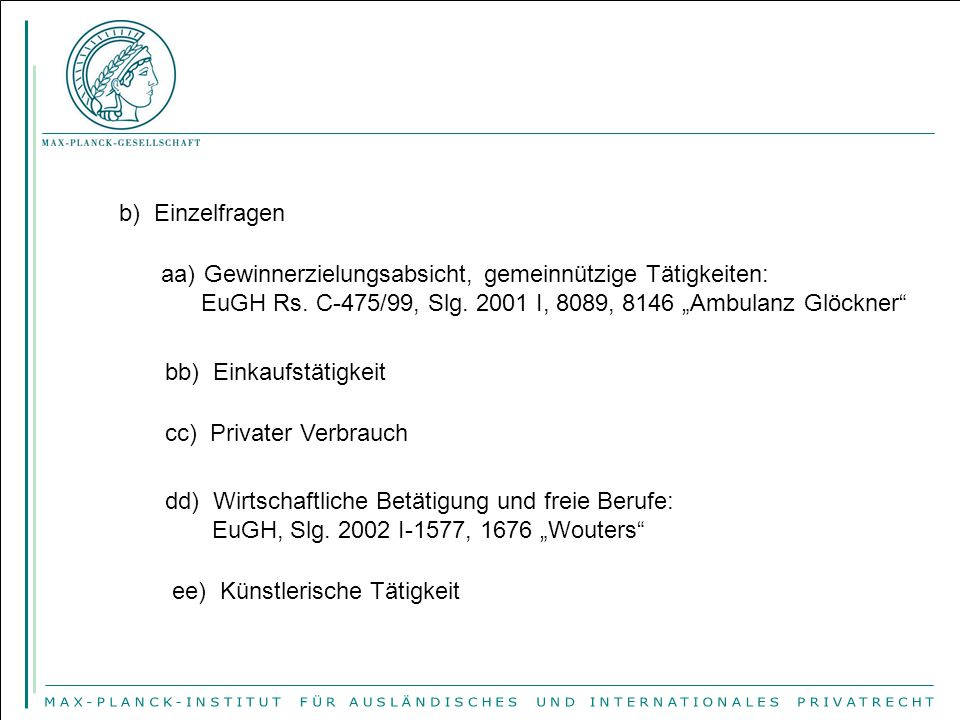 "ff)Sport: EuGH Rs.36/74, Slg. 1974, 1405, 1418 ""Walrave ; Komm., ABl."