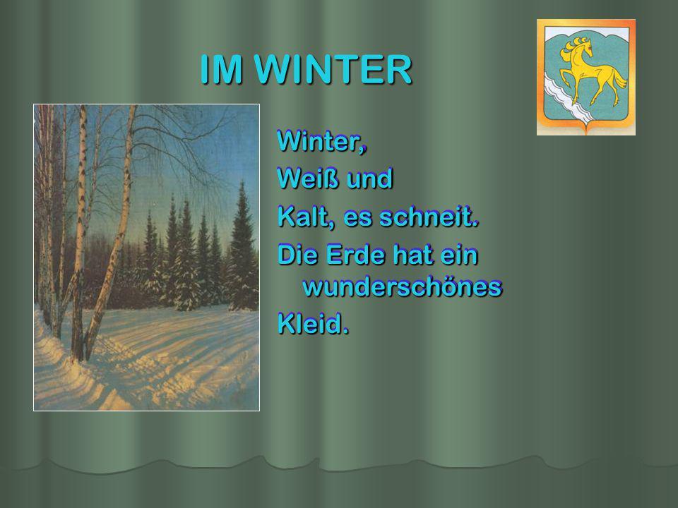IM WINTER Winter, Weiß und Kalt, es schneit. Die Erde hat ein wunderschönes Kleid. Winter, Weiß und Kalt, es schneit. Die Erde hat ein wunderschönes K