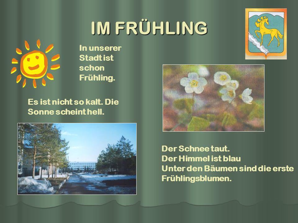 IM FRÜHLING In unserer Stadt ist schon Frühling. Es ist nicht so kalt. Die Sonne scheint hell. Der Schnee taut. Der Himmel ist blau Unter den Bäumen s