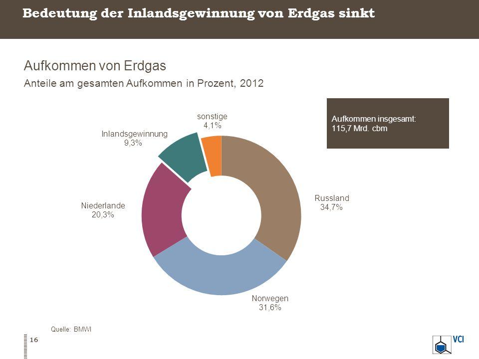 Bedeutung der Inlandsgewinnung von Erdgas sinkt Aufkommen von Erdgas Anteile am gesamten Aufkommen in Prozent, 2012 Quelle: BMWI 16