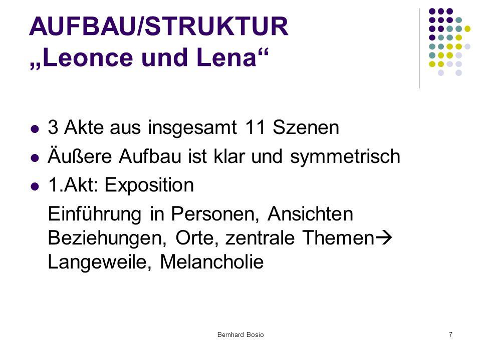 """Bernhard Bosio7 AUFBAU/STRUKTUR """"Leonce und Lena 3 Akte aus insgesamt 11 Szenen Äußere Aufbau ist klar und symmetrisch 1.Akt: Exposition Einführung in Personen, Ansichten Beziehungen, Orte, zentrale Themen  Langeweile, Melancholie"""