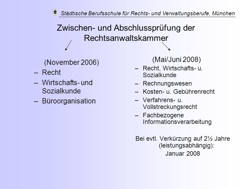 Zwischen- und Abschlussprüfung der Rechtsanwaltskammer (November 2006) –Recht –Wirtschafts- und Sozialkunde –Büroorganisation (Mai/Juni 2008) –Recht,