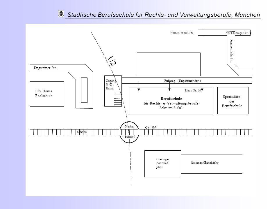 Städtische Berufsschule für Rechts- und Verwaltungsberufe, München S-Bahn Elly Heuss Realschule UngsteinerStr. FußwegZugang S-/U- Bahn (UngsteinerStr.