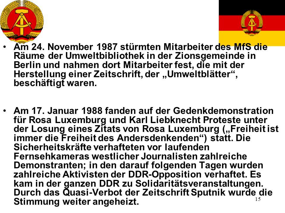 15 Am 24. November 1987 stürmten Mitarbeiter des MfS die Räume der Umweltbibliothek in der Zionsgemeinde in Berlin und nahmen dort Mitarbeiter fest, d