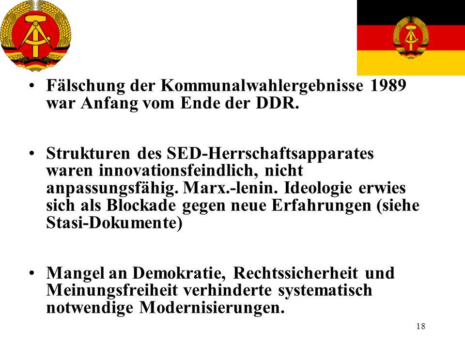 18 Fälschung der Kommunalwahlergebnisse 1989 war Anfang vom Ende der DDR. Strukturen des SED-Herrschaftsapparates waren innovationsfeindlich, nicht an
