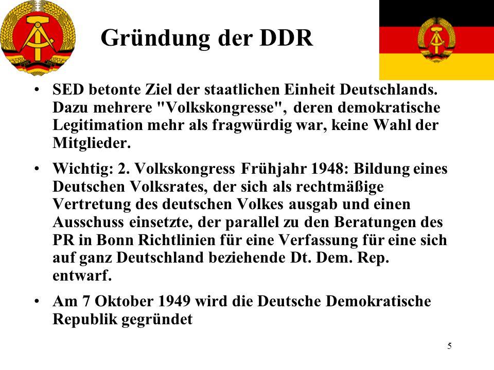 6 Die Politischen Machthaber Erster Präsident der DDR wurde 1949 Wilhelm Pieck, erster Ministerpräsident wurde Otto Grotewohl.
