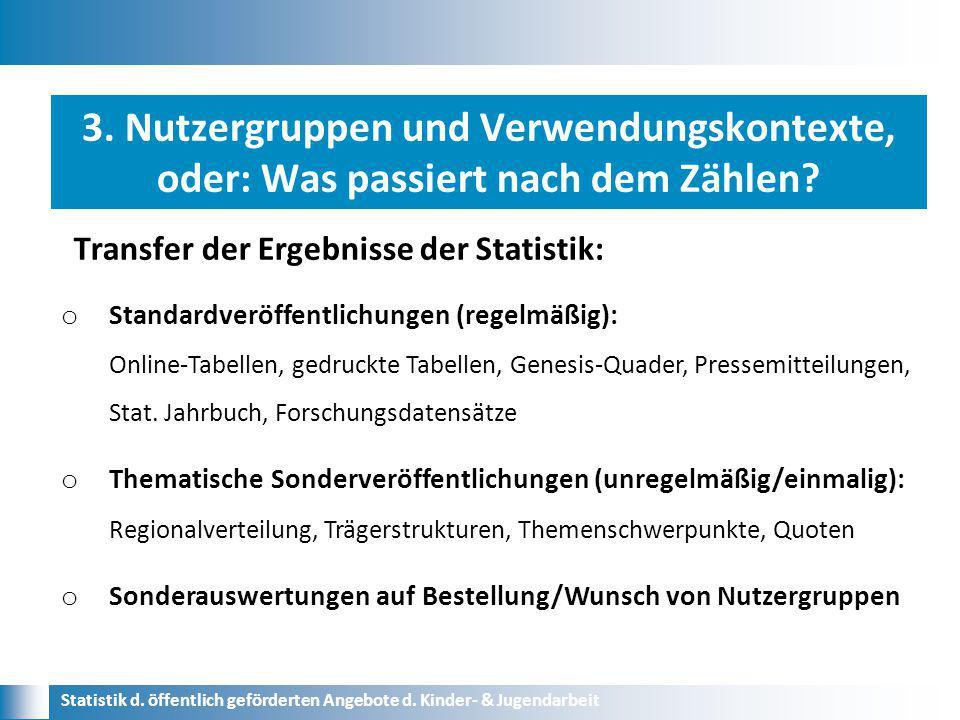 Transfer der Ergebnisse der Statistik: Statistik d. öffentlich geförderten Angebote d. Kinder- & Jugendarbeit o Standardveröffentlichungen (regelmäßig
