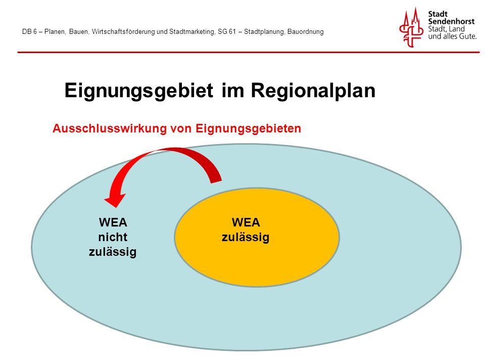 DB 6 – Planen, Bauen, Wirtschaftsförderung und Stadtmarketing, SG 61 – Stadtplanung, Bauordnung WEA zulässig Eignungsgebiet im Regionalplan WEA nicht zulässig Ausschlusswirkung von Eignungsgebieten