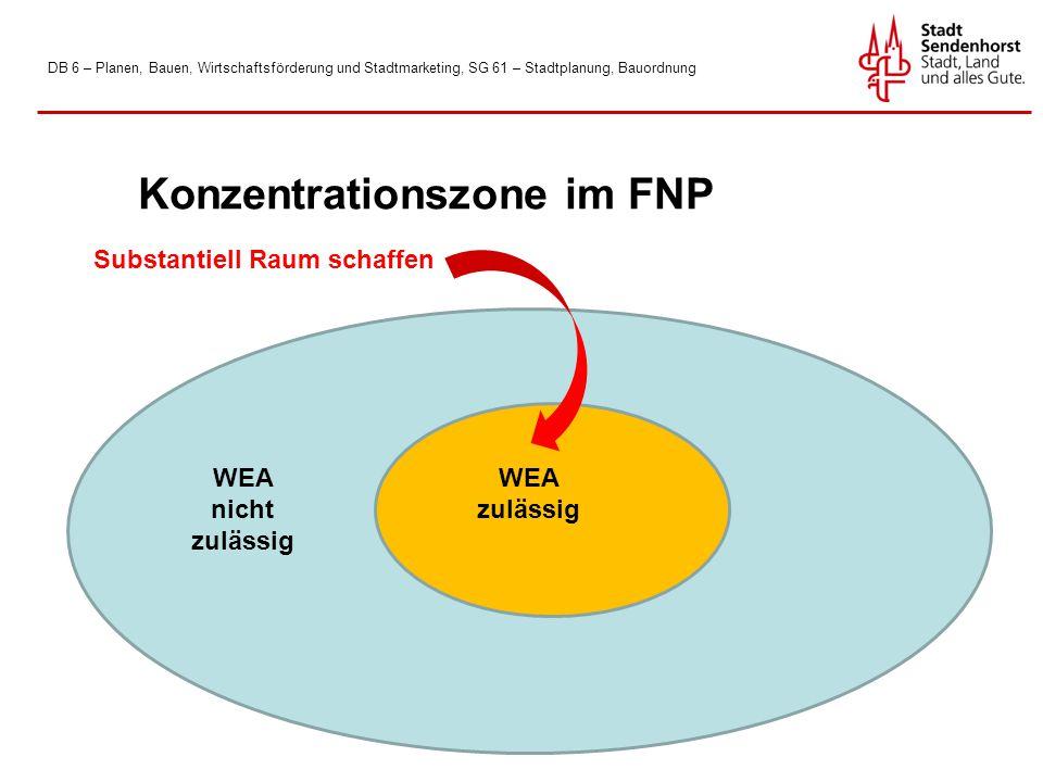 DB 6 – Planen, Bauen, Wirtschaftsförderung und Stadtmarketing, SG 61 – Stadtplanung, Bauordnung WEA zulässig Konzentrationszone im FNP WEA nicht zulässig Substantiell Raum schaffen