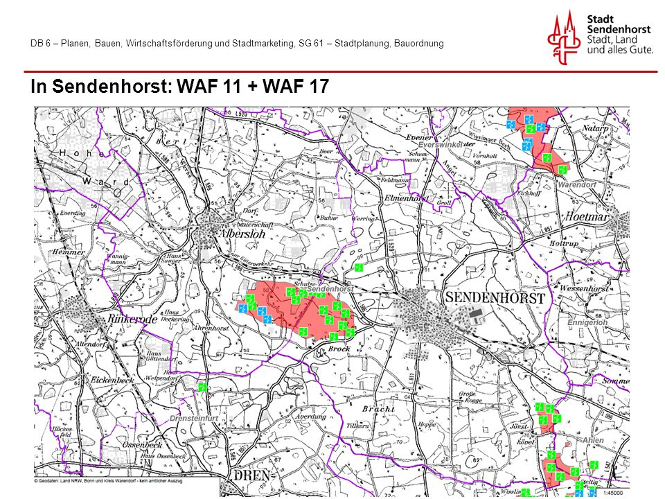 DB 6 – Planen, Bauen, Wirtschaftsförderung und Stadtmarketing, SG 61 – Stadtplanung, Bauordnung In Sendenhorst: WAF 11 + WAF 17